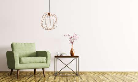 Interno di salotto con tavolino, poltrona verde e lampada rendering 3D