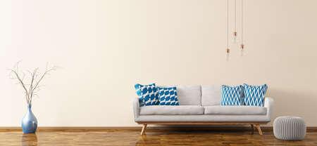 白いソファ、スツール、花瓶や球根のパノラマ 3 d レンダリングとリビング ルームのモダンなインテリア