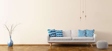 Modern interior of living room with white sofa, knitted pouf, vase and bulbs panorama 3d rendering Stok Fotoğraf
