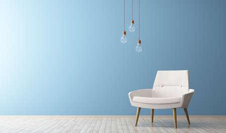 白いアームチェア、電球の 3 d レンダリングとリビング ルームのモダンなインテリア