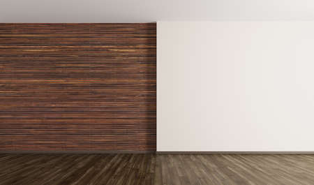 Empty interior background, room with brown wood paneling wall and hardwood flooring 3d rendering