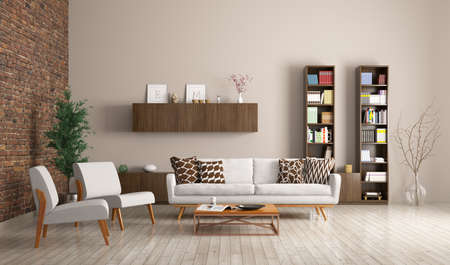 Modern living room interior with sofa, armchairs and sideboard 3d rendering