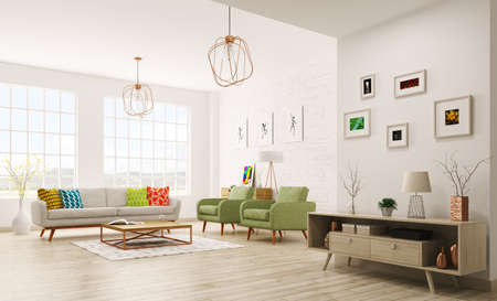 Modern interior of living room with sofa, armchairs, scandinavian style 3d rendering