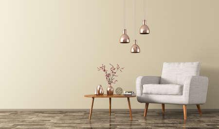 Nowoczesny salon wnętrze z drewnianym stolikiem kawowym, białym fotelu i miedzi Lampy renderingu 3d