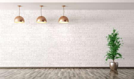 インテリアの空白の背景、白いレンガの壁と植物の 3 d レンダリング上銅金属ランプ付け