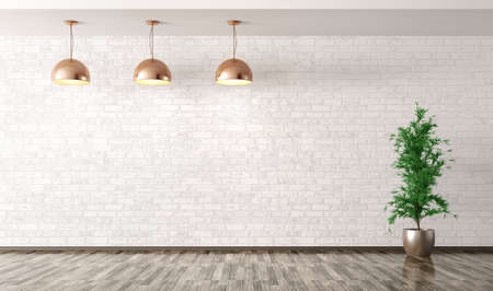Empty interior background, room with copper metal lamps over white brick wall and plant 3d rendering 스톡 콘텐츠