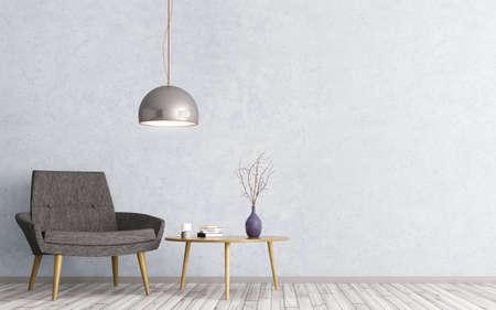 Interior de la sala de estar con mesa de madera triangular de café, lámpara y sillón negro representación 3D