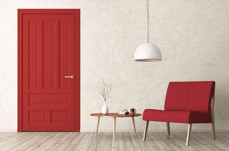 赤いドア、肘掛け椅子とコーヒー テーブルの 3 d レンダリングとリビング ルームのモダンなインテリア 写真素材