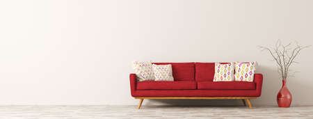 Modern interior of living room with red sofa, white cushions and vase with branch panorama 3d rendering