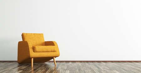 茶色の木の床の 3 d レンダリングの上にオレンジのファブリック椅子付きのリビング ルームのインテリア