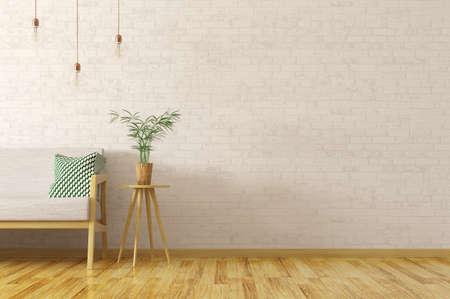 Interno del salone con la pianta sulla tavola di legno e sul sofà grigio sopra il muro di mattoni, stile scandinavo, rappresentazione 3d