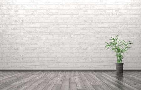 공장 벽돌 벽 배경 위에 거실의 빈 인테리어 3d 렌더링