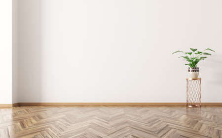 Empty room interior background, houseplant on the wooden floor 3d rendering