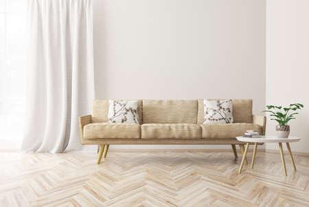 Design de interiores moderno da sala de estar com sofá bege, mesa de café, estilo escandinavo, renderização em 3d