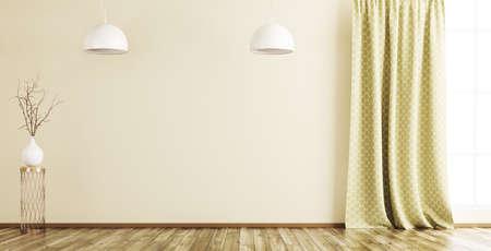 빈 인테리어 배경, 창, 커튼, 나무 바닥 및 램프에 분기와 꽃병 3d 렌더링