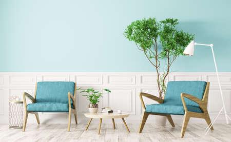 Design de interiores moderno da sala de estar com mesa de café de madeira e duas poltronas renderização em 3d