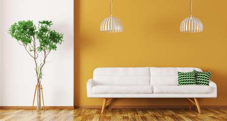Modern binnenlands ontwerp van woonkamer met witte bank, installatie en lampen over het oranje muur 3d teruggeven