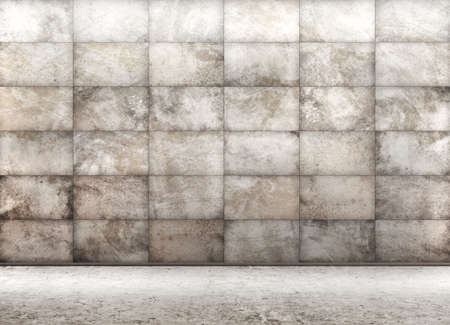 コンクリートタイル張りの壁3Dレンダリングを備えた部屋の内部背景 写真素材