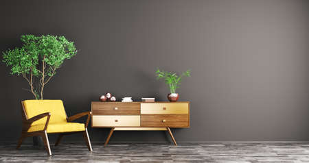 Modern interior of living room with wooden cabinet and yellow armchair over black wall 3d rendering