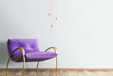 Interior of modern living room with violet armchair and floor lamp 3d rendering Banque d'images