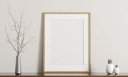 Wall decoration, white frame and vase on the shelf, interior background 3d rendering Stock Photo