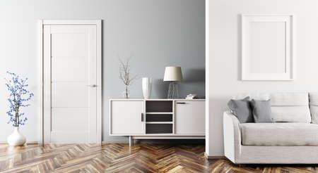 ソファ、キャビネット、ドア3Dレンダリング付きのリビングルームのモダンなインテリア 写真素材 - 96147364