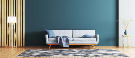 Interior of modern living room with blue sofa 3d rendering Banque d'images