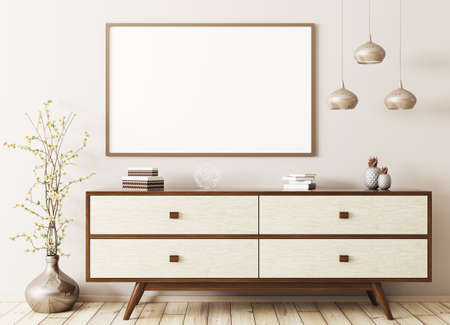 Modern Interior Of Living Room With Wooden Dresser And Mock Up Poster 3d  Rendering Stock Photo