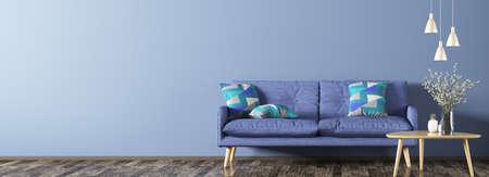 Innenraum des Wohnzimmers mit blauem Sofa, hölzernem Couchtisch mit Blumenvase und Wiedergabe des Lampenpanoramas 3d Standard-Bild - 96995777