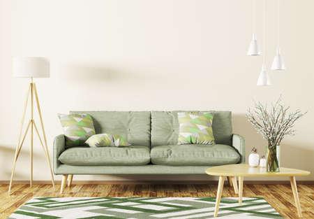 Modern Interieur Living : Modern interior design of living room with sofa shelf rug