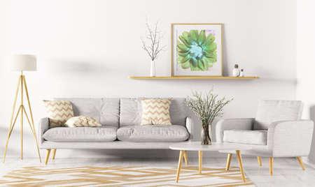 Diseño interior moderno de sala de estar con sofá, estante, alfombra, sillón y lámpara de pie 3D rendering Foto de archivo - 97589959