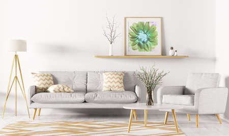 Modern interior design of living room with sofa, shelf, rug, armchair and floor lamp 3d rendering Stok Fotoğraf