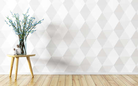 Room interior background,  glass vase with flower branches on the table over white paneling wall, 3d rendering Stock Photo