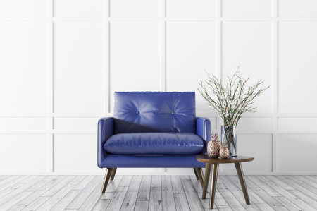 Interior of living room with wooden coffee table and blue leather armchair over white paneling wall 3d rendering