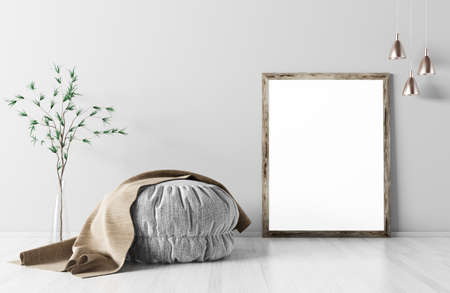 Room interior with ottoman, mock up frame on the parquet floor, lights and vase with branch, background 3d rendering Stockfoto