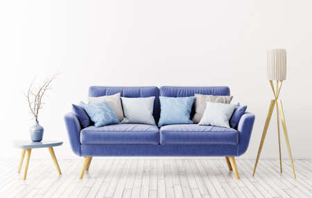 Modern interior design of living room with blue sofa, floor lamp and vase with flower branche 3d rendering