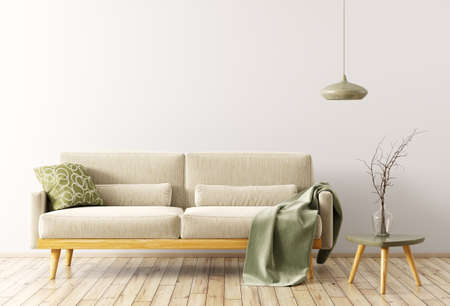 Modern interior of living room with velours sofa, wooden coffee table and lamp 3d rendering Stockfoto