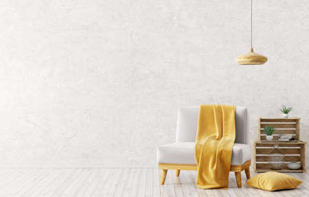 Modern interior design of living room with white armchair,yellow plaid on it,wooden lamp and boxes over gray stucco wall 3d rendering Stockfoto