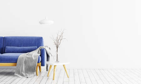 Modern interior of living room with velours blue sofa, gray plaid, wooden coffee table and lamp over white wall 3d rendering