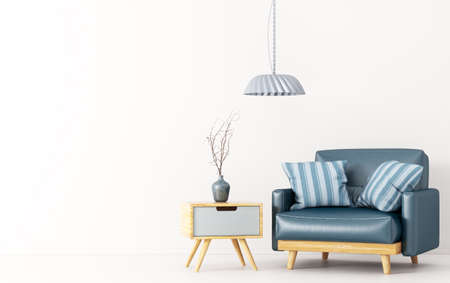 Interior design of living room with wooden side table, lamp and blue leather armchair over white 3d rendering