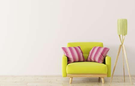 Interior design of living room with wooden floor lamp and green armchair 3d rendering