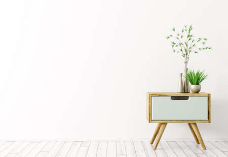 Interior background of living room with wooden side table and vases with plants over white 3d rendering Stockfoto