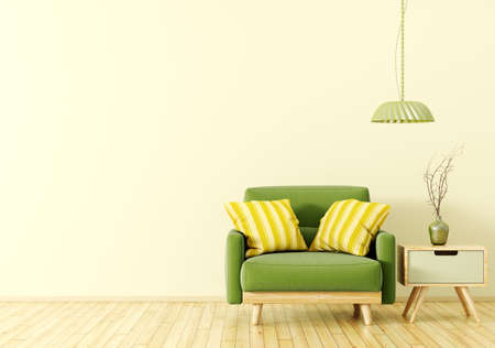 Interior design of living room with wooden side table, lamp and green velvet armchair over yellow 3d rendering