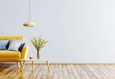 Modern interior of living room with yellow sofa, wooden coffee table and lamp 3d rendering Stockfoto