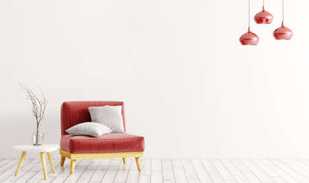 Interior of living room with red velvet armchair, gray cushions, wooden coffe table with vase and lamps over white wall 3d rendering