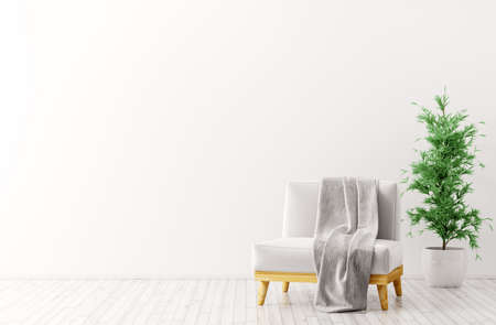 Modern interior design of living room with white armchair,gray plaid on it and plant 3d rendering