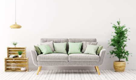 Modern interior design of living room with gray sofa over white wall 3d rendering