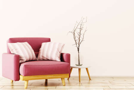 Red velvet armchair and coffee table with vase with branch 3d rendering