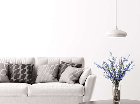 Modern interior background of living room with sofa, vase with flower branches and lamp 3d rendering