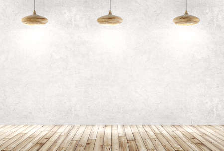 Interior background of a room with three wooden lamps over concrete wall, wooden floor 3d rendering Stockfoto